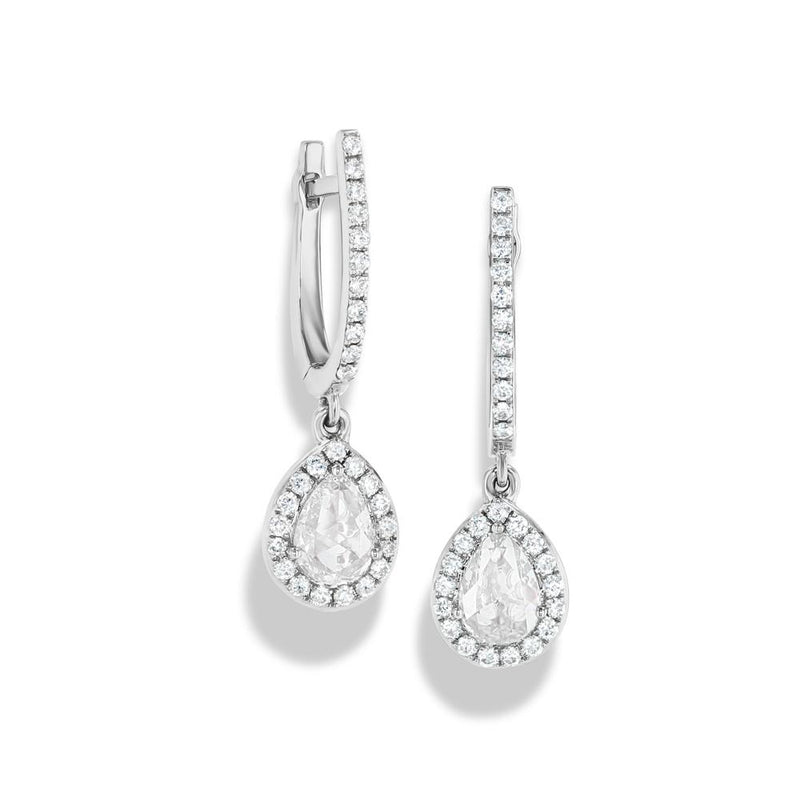 Scallop Tear Diamond Drops (0.70 Carat) in White Gold