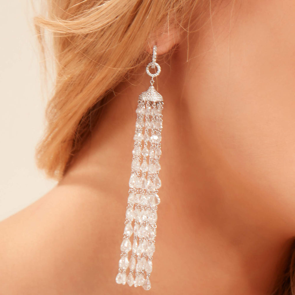 Tassel Diamond Earrings - Available in Two Lengths