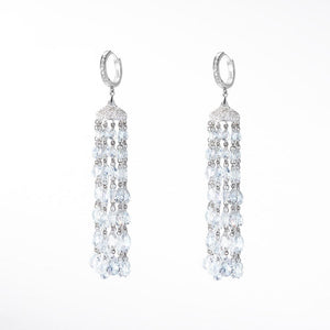 Ethereal Diamond Tassel Earrings. Round Rose Cut Diamonds, individually hand-drilled and bound together with platinum claps. Pave Diamond roof and ear clasp.
