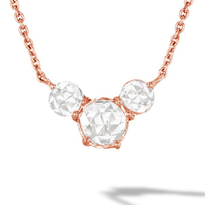 64Facets Rose Cut Diamond and Rose Gold Chain