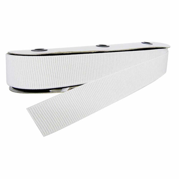 Elastic - Woven Ribbed - 38mm - White - 1m