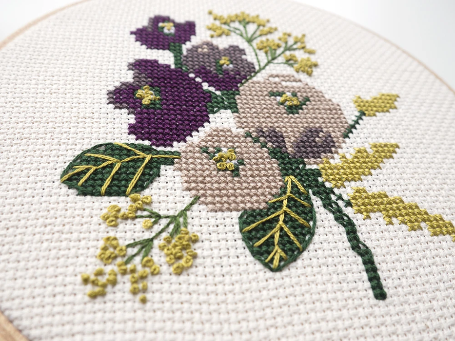 Junebug and Darlin Cross Stitch Kit - Amethyst Floral Kit