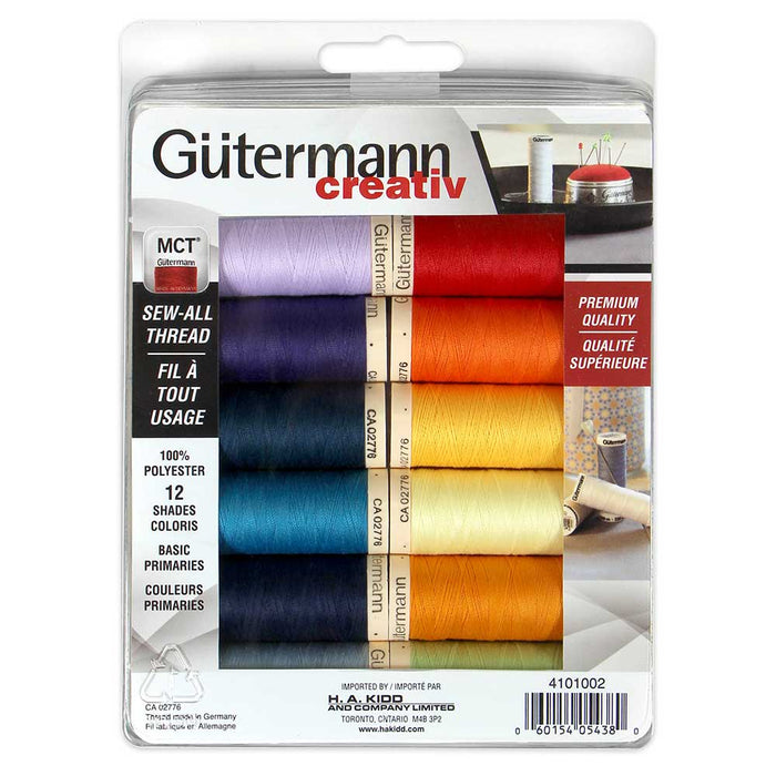Thread Set - GÜTERMANN 12 pc Sew-All 100m Thread Set - Primary Colours