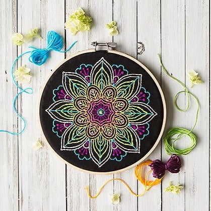 Mini Maker Embroidery Stitch Kit - Neon Mandala