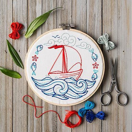 Mini Maker Embroidery Stitch Kit -  Blue Voyage