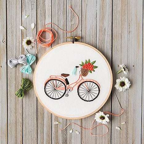 Mini Maker- Bicycle Embroidery Stitch Kit - 9 Pieces - Includes Hoop, Pre-Stamped Felt, Needle, Floss and Instructions