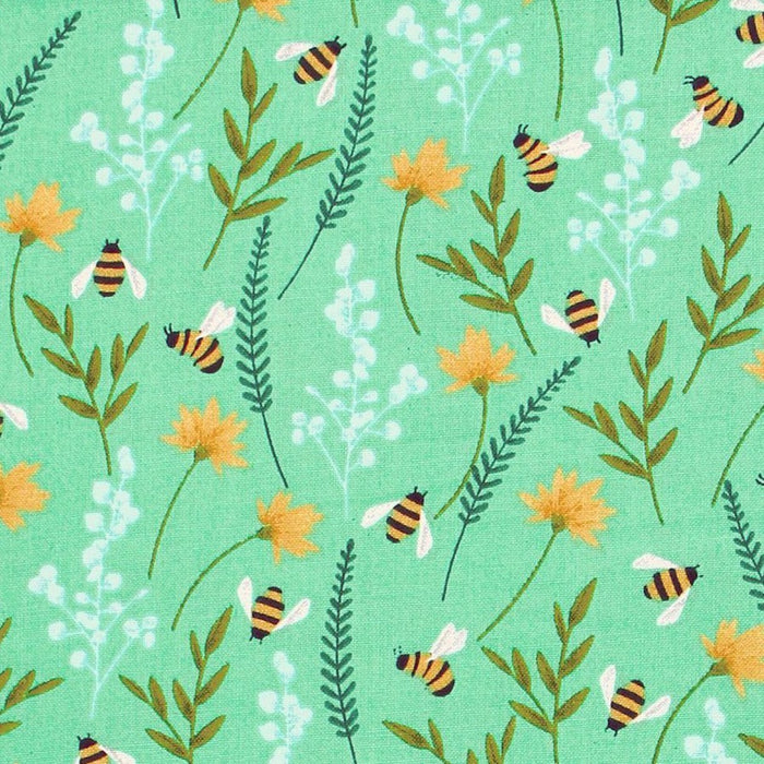 Quilting Cotton Print - Green Summertime Garden - 1/4m