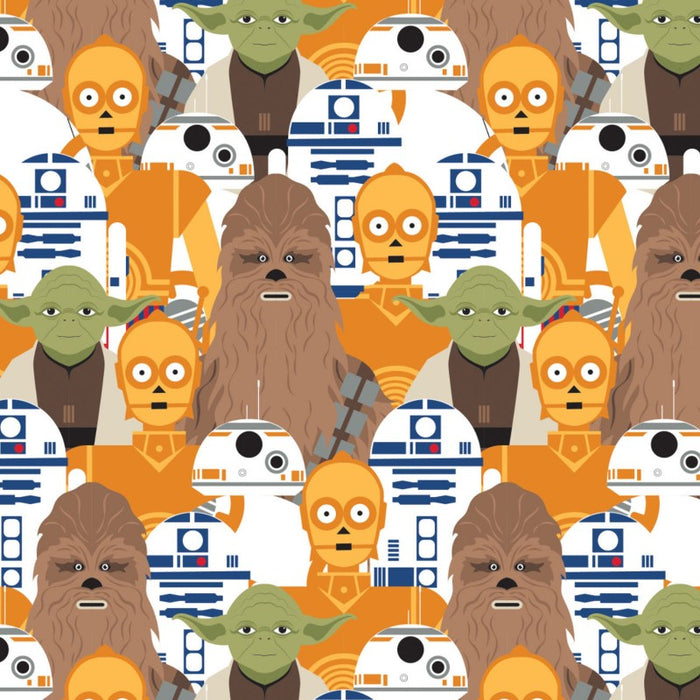 Quilting Cotton - Star Wars - Portrait Stacked - Yoda, Chewbacca, R2-D2, C-3P0, BB8 - 1/4m