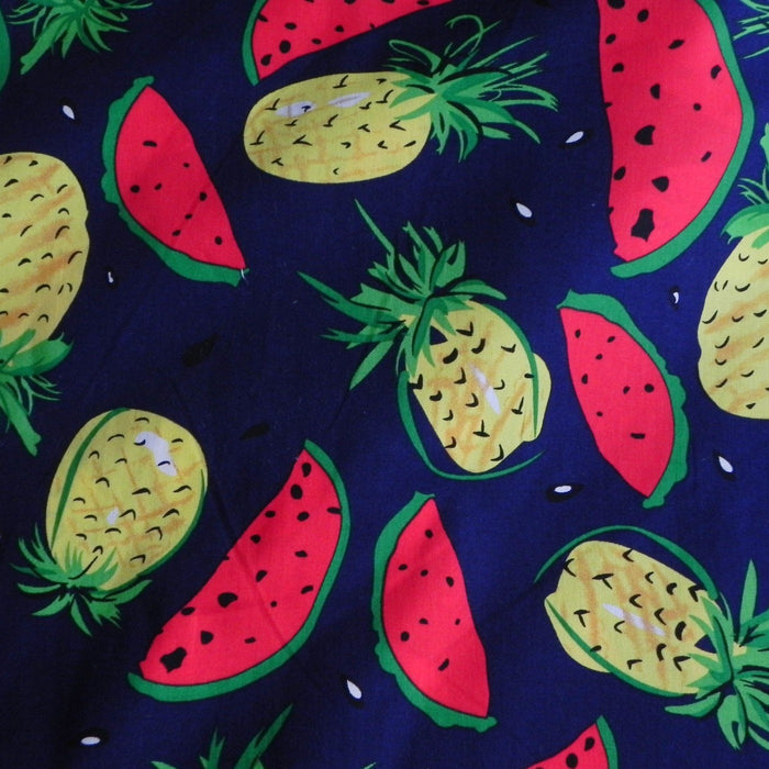 Poplin Print - Pineapple & Watermelon on Blue - 1/4m
