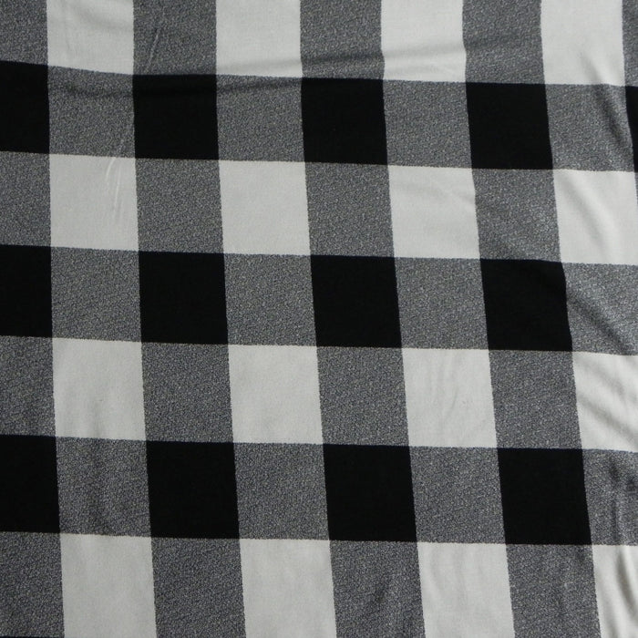 Bamboo Print Jersey - Buffalo Plaid Larger Scale - White - 1/4m
