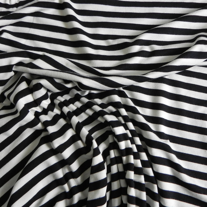 Striped Bamboo / Organic Cotton Jersey - Natural/Black - 1/4m
