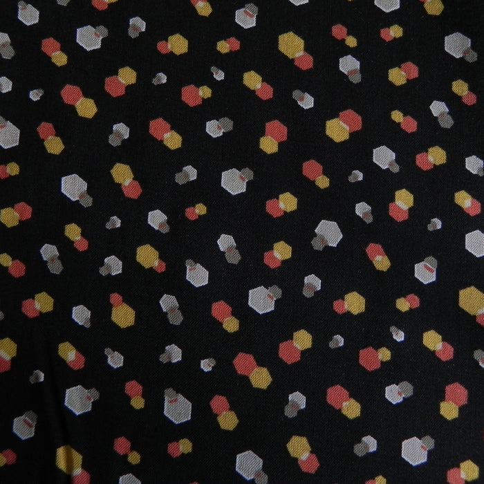 Rayon Print - Black with Geo Scatter - 1/4m