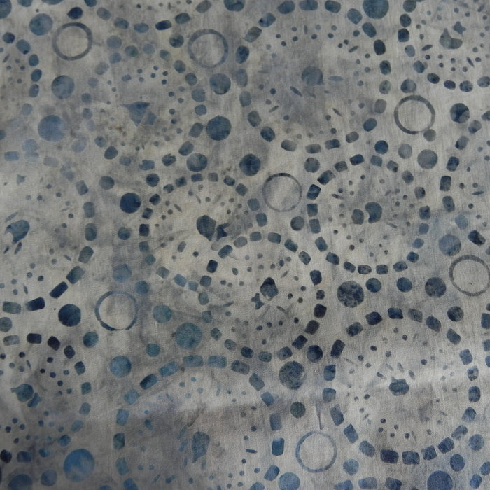 Cotton Batik - Blue Grey Bubbles - Bluer Version - 1/4m
