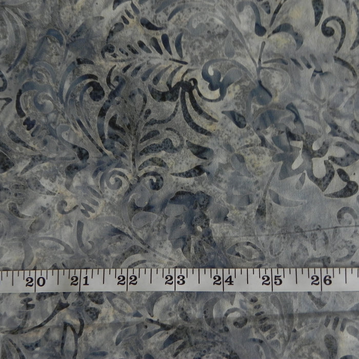 Cotton Batik - Marbled Grey Floral - 1/4m