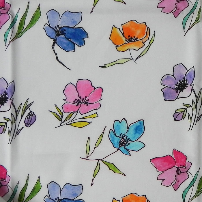 Digital Poplin Print - Watercolour Flowers - 1/4m