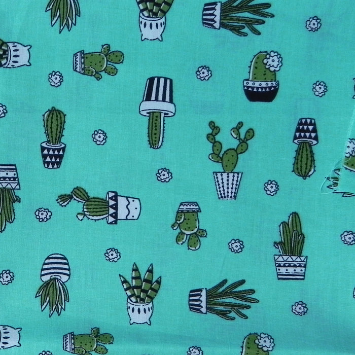 Poplin Print - Cactus on Mint - 1/4m