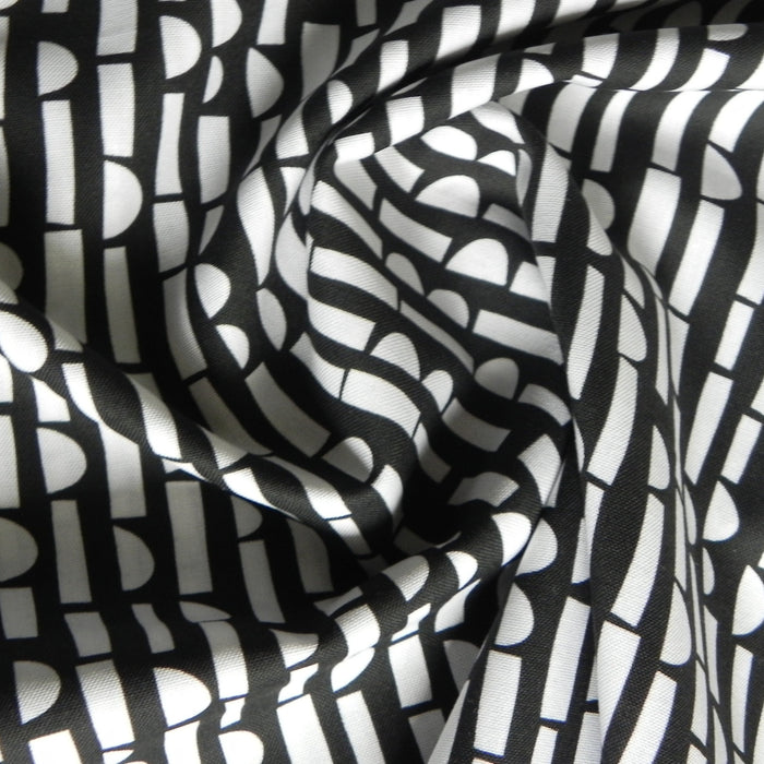 Quilting Cotton - Abstract Collage - Black & White - 1/4m