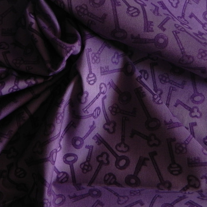 Quilting Cotton - Aubergine - Purple Keys - 1/4m