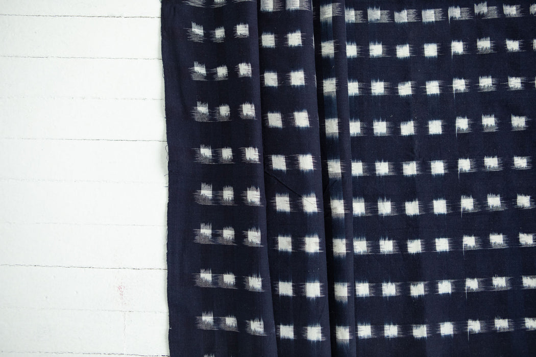 Ikat Yarn-Dye - Indigo with Cream Squares - 1/4m