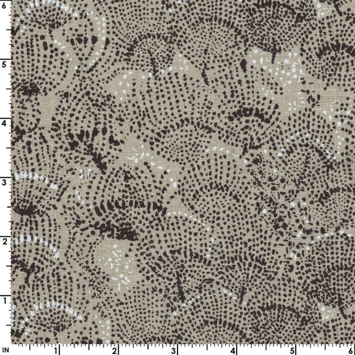 Nani IRO - Linen Sheeting - Situation - Natural/Black - 1/4m