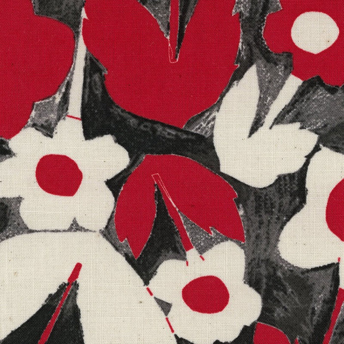 Kokka - Big Flower - Canvas - Red and Black - 1/4m