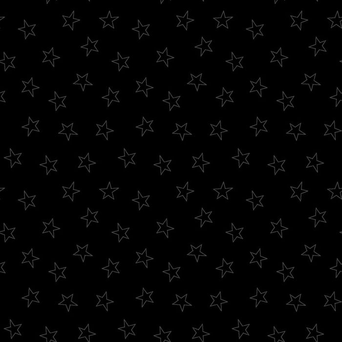 Quilting Cotton - In the Black - Star Black - 1/4m