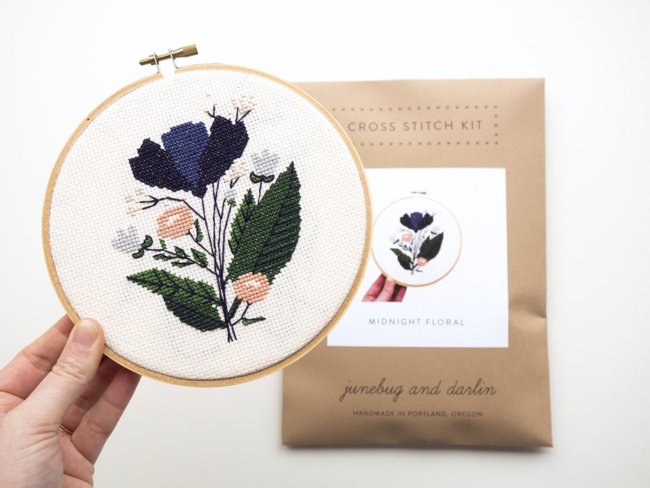 Junebug and Darlin Cross Stitch Kit - Midnight Floral Kit