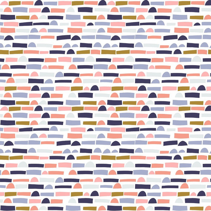 Quilting Cotton - Abstract Collage - Blush & Navy - 1/4m