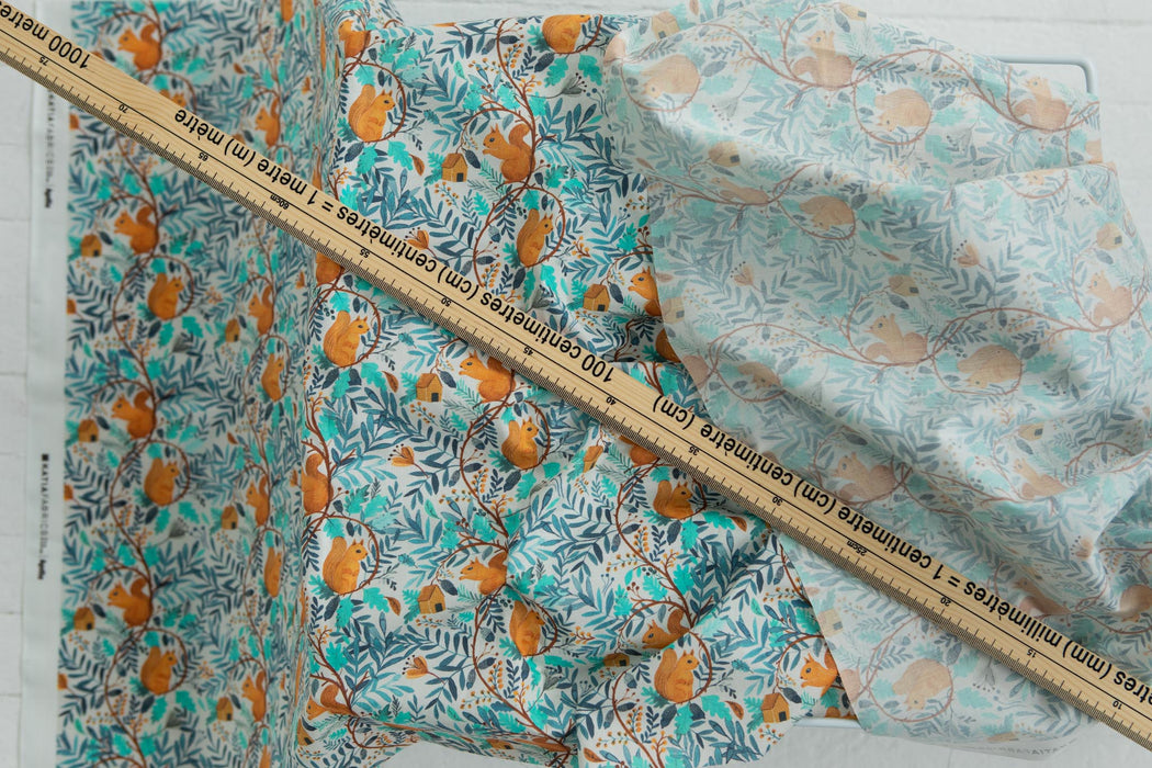 REMNANT - Printed Poplin - Squirrel World -  1.13m + 0.5m + FQ