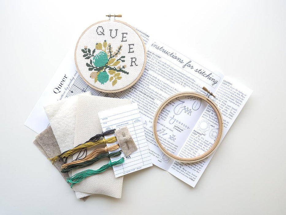 Junebug and Darlin Cross Stitch Kit - Queer Kit