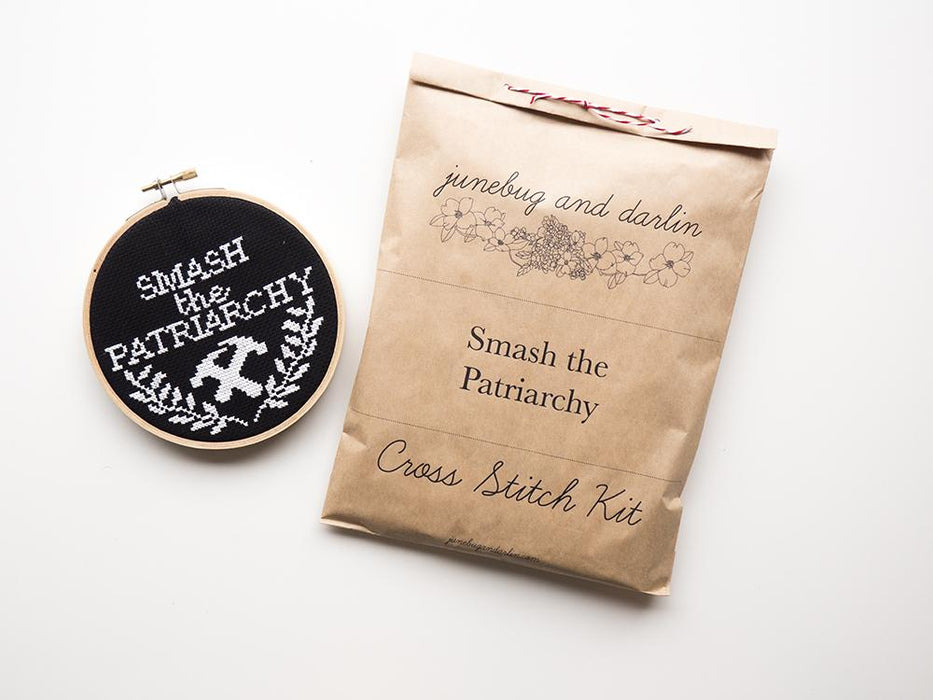 Junebug and Darlin Cross Stitch Kit - Smash the Patriarchy Kit