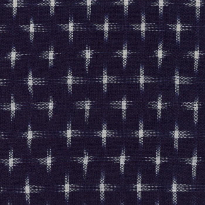 Ikat Yarn-Dye - Indigo with White Hatches - 1/4m