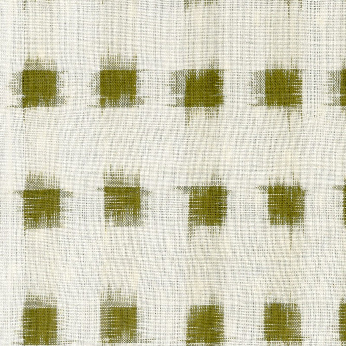 Ikat Yarn-Dye - Cream with Mustard/Army Squares - 1/4m