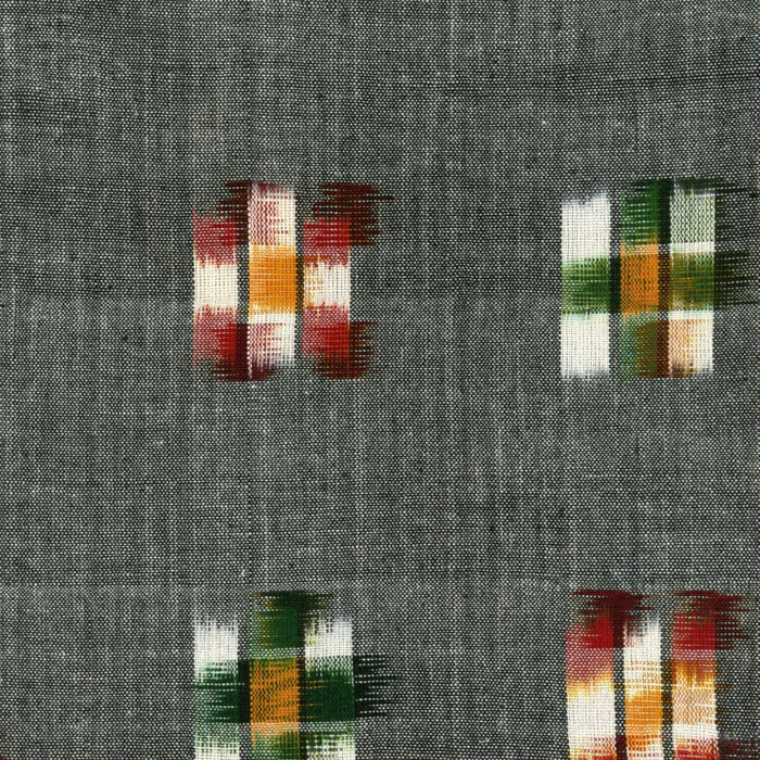Ikat Yarn-Dye - Charcoal with Red, Green, and Mustard - 1/4m