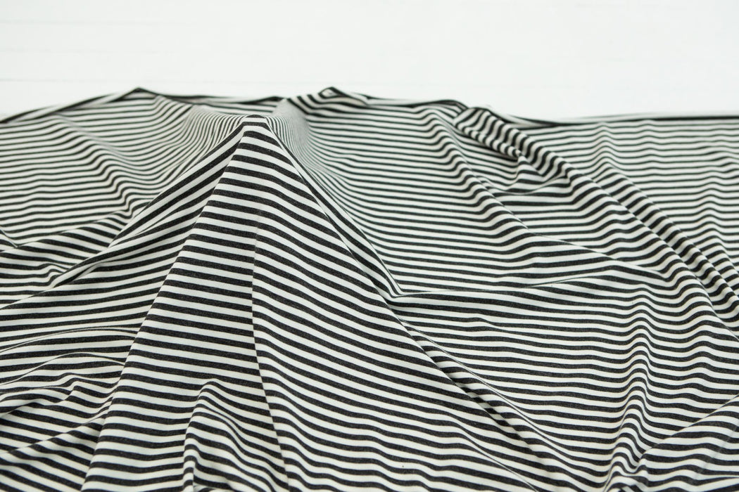 4mm Striped Bamboo / Cotton Jersey - Charcoal/Ivory - 1/4m