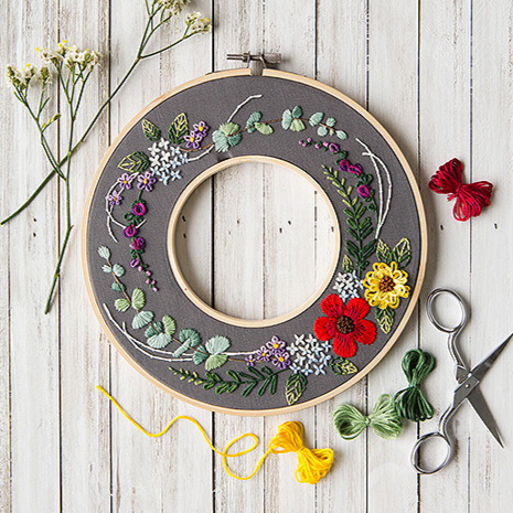 Mini Maker Embroidery Stitch Kit - Floral Wreath
