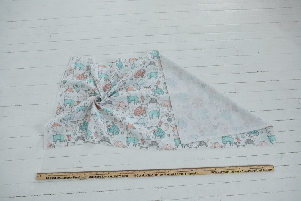 Flannelette Print - White PJ Party - 1/4m