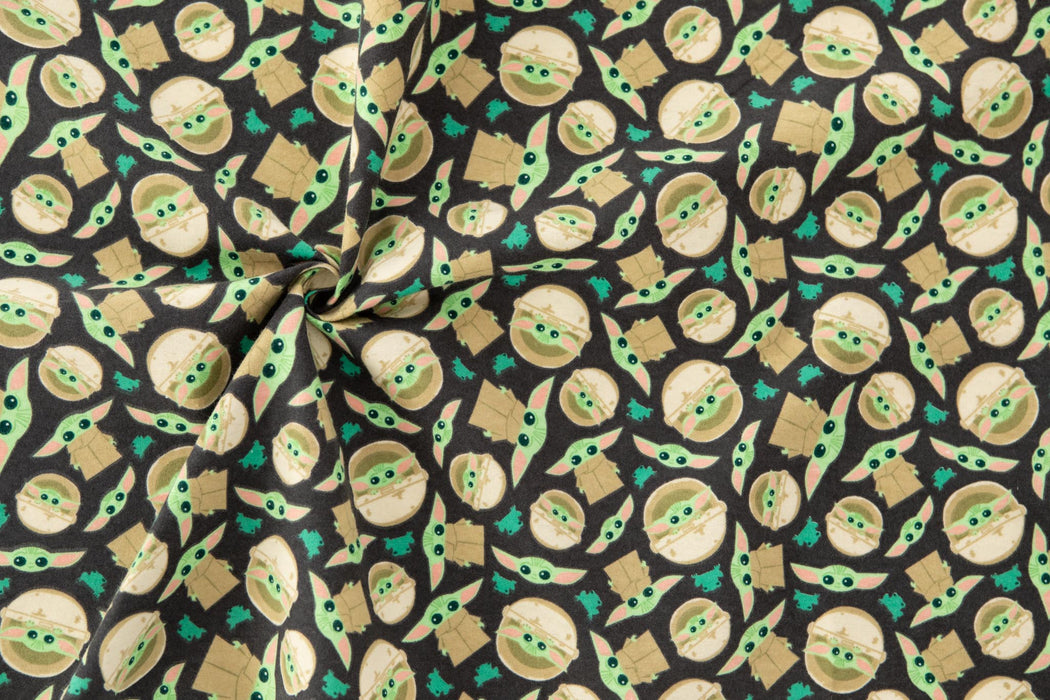 Flannelette Print - Star Wars - Child and Frog Toss - Grey - 1/4m