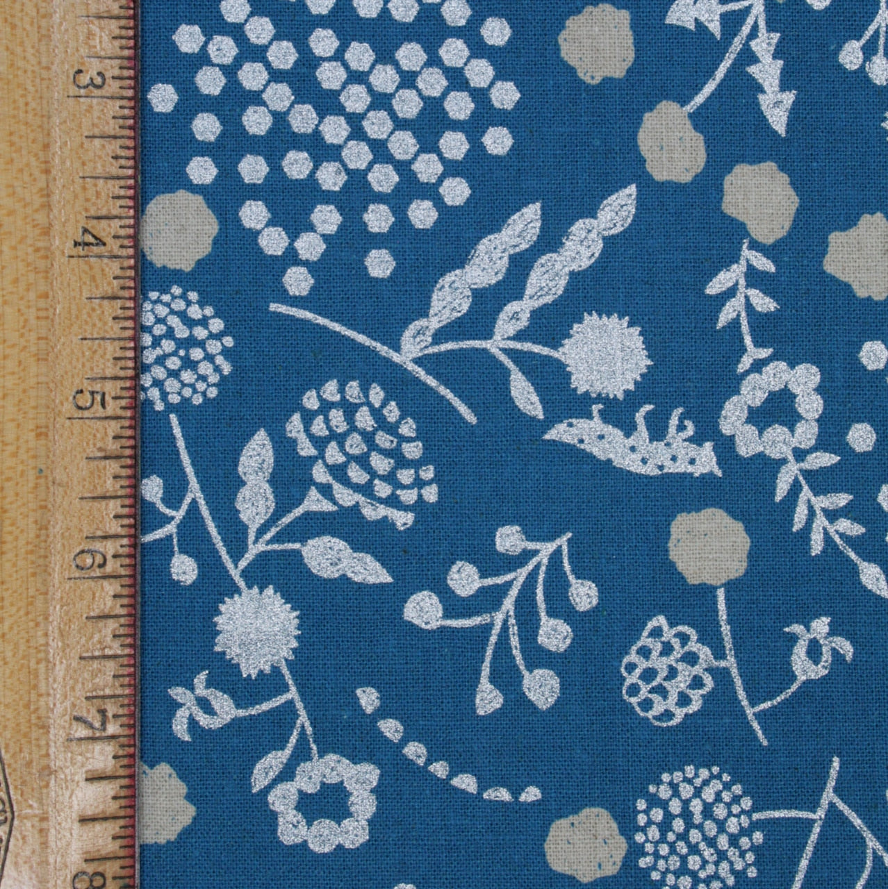 Kokka - Echino Sprout Canvas - Floral  on Blue with Silver  - 1/4m