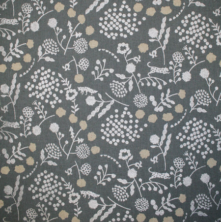 Kokka - Echino Sprout Canvas - Floral  on Grey with Silver  - 1/4m