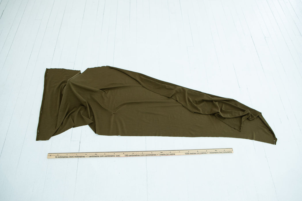 Superfine Merino Wool Jersey - Military - 1/4m