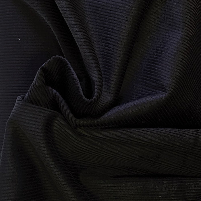 Organic Cotton Stretch Corduroy - 8 Wale - Black - 1/4m
