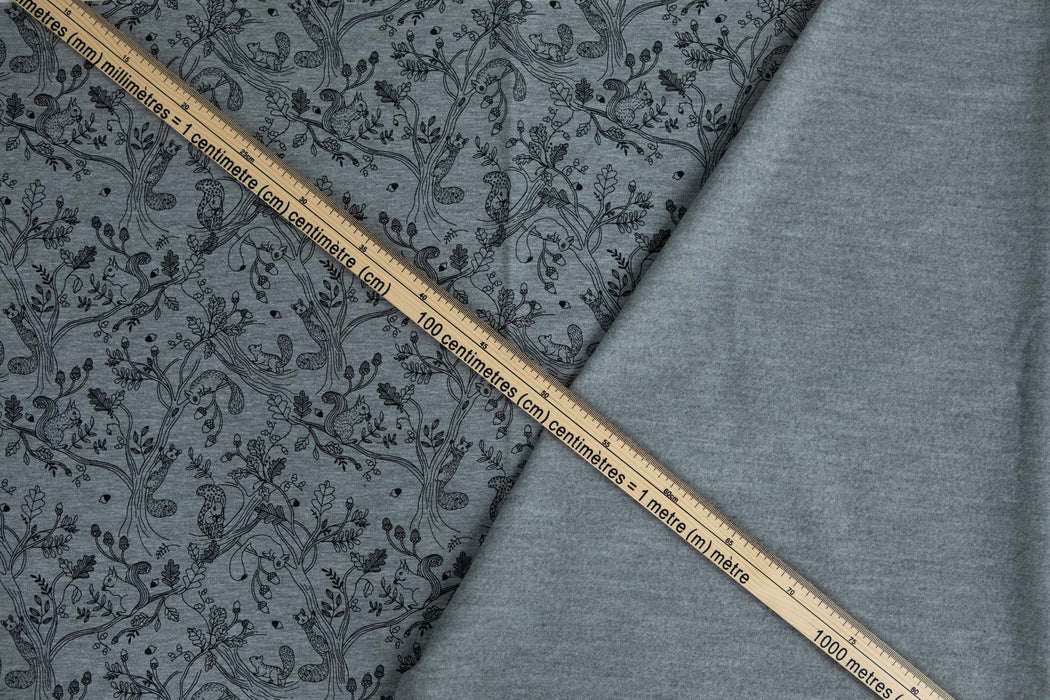 Printed Brushed Sweat - Squirrel Melange - 1/4m