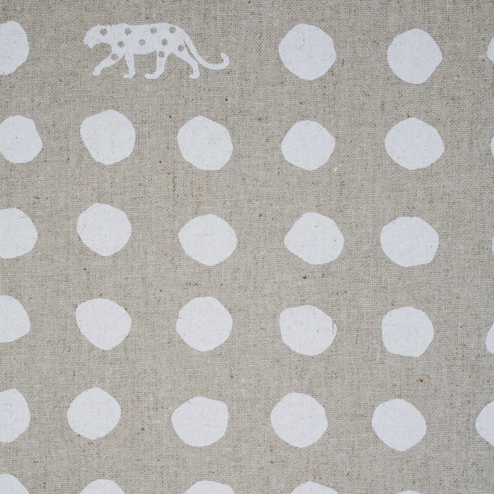 Kokka - Echino Panther Canvas - Natural with White  - 1/4m
