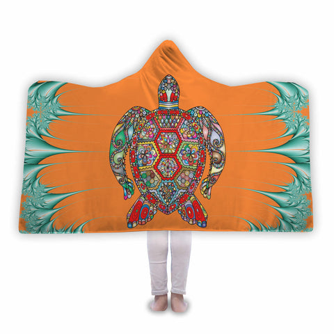 Psychedelic Sea Turtle Hooded Blanket