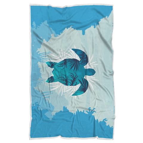 Blue Sea Turtle Blanket