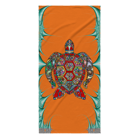 Psychedelic Sea Turtle Beach Towel