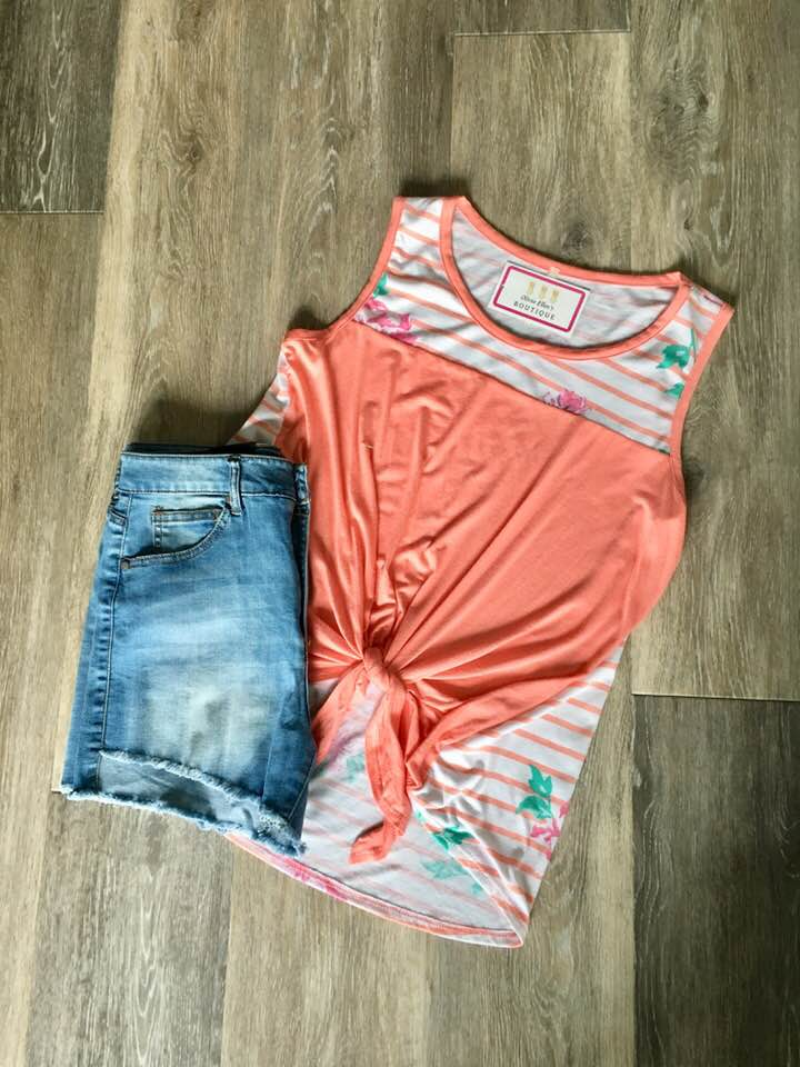 Coral floral striped tank top
