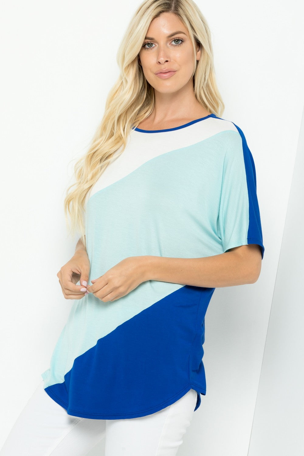 Curvy Aqua/Royal Blue Tunic