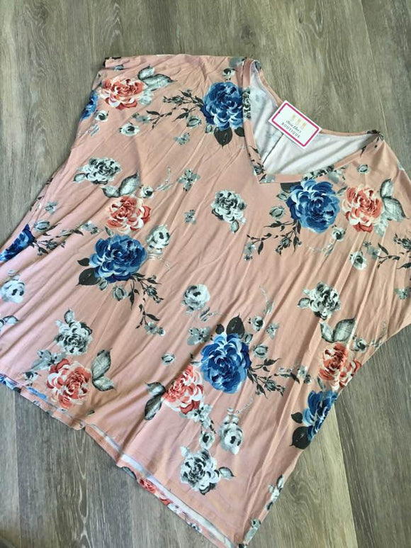Curvy  Blush Floral Top
